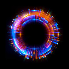 Abstract background. luminous swirling. Elegant glowing circle. Big data cloud. Light ring..Sparking particle. Space tunnel. Colorful ellipse. Glint sphere. Bright border. Magic portal. Energy ball.