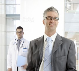 MIddle-aged businessman at medical center