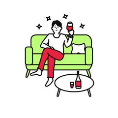 ワインを飲む男性