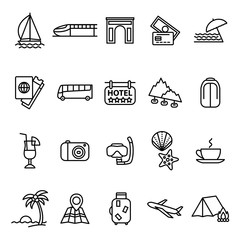Travel and Tourism Signs Black Thin Line Icon Set. Vector