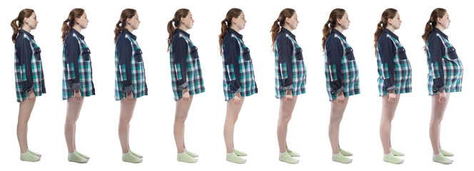 Photo young girl during pregnancy in plaid shirt