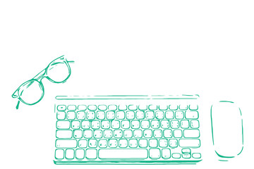 hand drawn sketch of glasses with keyboard and computer mouse. Top view of office supplies