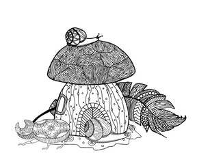 Fairytale mushroom and feather birds. Beetle and snail. Zen coloring book for adults. Tangle pattern. Vector illustration.