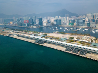 Fotomurales - Kai Tak Cruise Terminal of Hong Kong from drone view