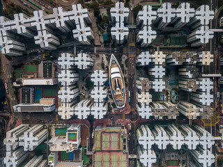 Fotomurales - Private housing of Hong Kong from drone view
