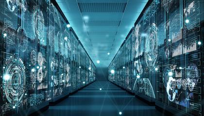 Fototapeta Graph holograms flying over server room data center 3D rendering