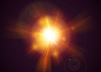 Sunshine Light Effect. Yellow Sun Rays with Transparency. Realistic Holy Sunlight with Glow, Flare, Solar Dust. Magic Gold Sunbeam.