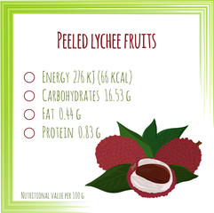 Lychee. Nutrition facts. Flat design, no gradient. Vector illustration