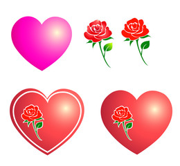 illustration of rose and heart in valentine.