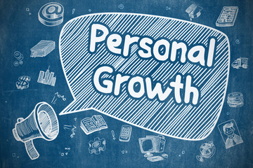 Personal Growth - Doodle Illustration on Blue Chalkboard.