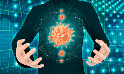 Man holding virus abstract transparent model in hands. Medicine research background. 3D rendering.