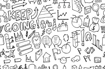 Vector Background Seamless pattern with hand drawn Business doodle eps10