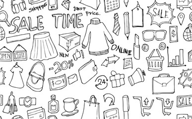 Vector Background Seamless pattern with hand drawn Shopping doodle eps10