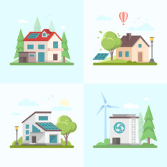Eco-friendly complex - set of modern flat design style vector illustrations