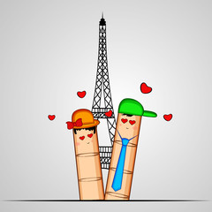 Illustration of cute fingers for Valentine's Day