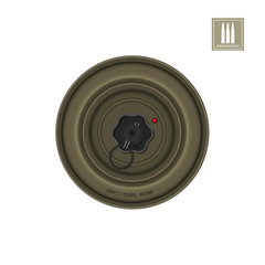 Detailed realistic image of anti-tank mine. Army explosive. Weapon icon. Military object. Vector illustration