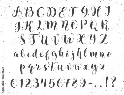 Elegant Calligraphy Letters Handwritten Alphabet Isolated On White Background Uppercase Lowercase