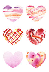 Set of six hearts with watercolor texture of blots stains gradients of different colors isolated on white background.