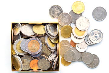 background business concept thai coin,box paper saving and money coin on white background