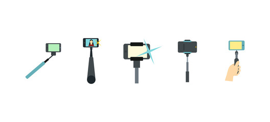 Selfie stick icon set, flat style