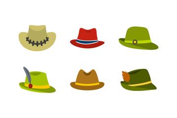 Panama hat icon set, flat style