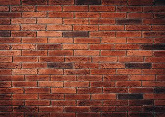 Red brick wall texture grunge background may use to interior design