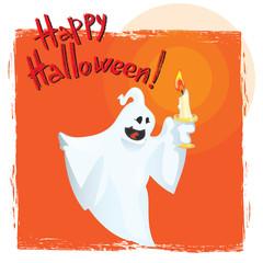 Happy Halloween  Greeting Card with Cartoon Ghost