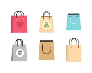 Shopping bag icon set, flat style