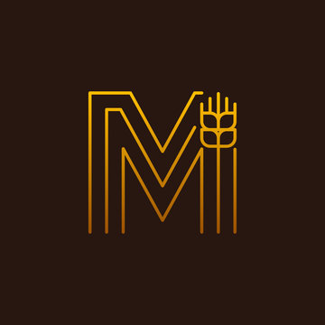 Letter M Line style logotype with wheat,rice organic grain products and healthy food vector illustration
