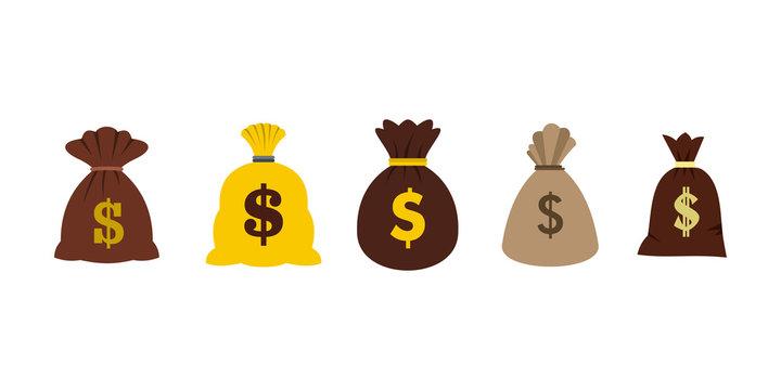 Money bag icon set, flat style