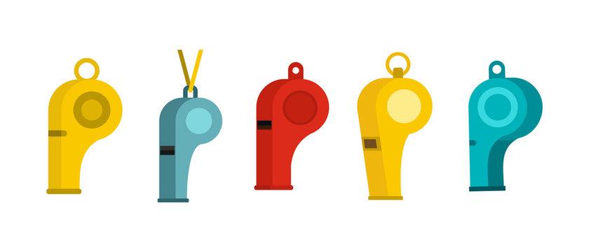 Whistle icon set, flat style