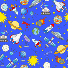 Seamless pattern on the theme of space and space travel color icons on blue background