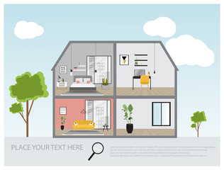 Illustration of a modern luxury house, house project, real estate concept for sales