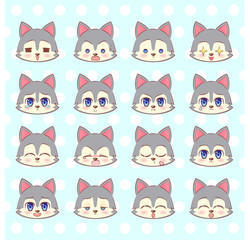 Emoticons, emoji, smiley set, colorful Sweet Kitty Little cute kawaii anime cartoon wolf, puppy l different emotions mascot sticker Happy, sad, angry, smile, kiss, love Children character vector.