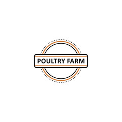 Vector flat poutry farm logo in circle icon. Chicken meat manufacturing, natural organic food products company identity, logo, brand design template. Isolated illustration, white background