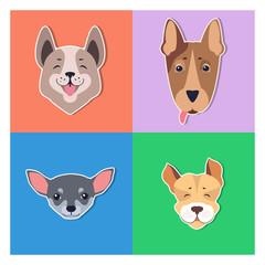 Cute Dogs Muzzles Cartoon Flat Vector Icons