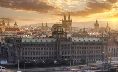 cityscape view of Prague, Czech Republic from the top at sunset