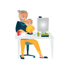 Vector cartoon people working from home, remote, freelance work . Adult man sitting at workplace typing at desktop keyboard with baby child with nipple at knees. Isolated illustration