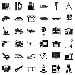 Shipping land icons set, simple style