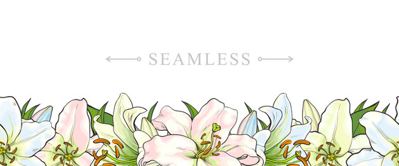 Endless, seamless border made by light blue, pink and yellow lily flowers, sketch, hand drawn vector illustration isolated on white background. Banner with endless border of hand-drawn lily flowers