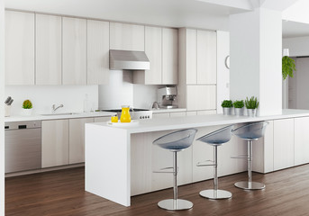 Cucina bianca di design moderno, render alta definizione