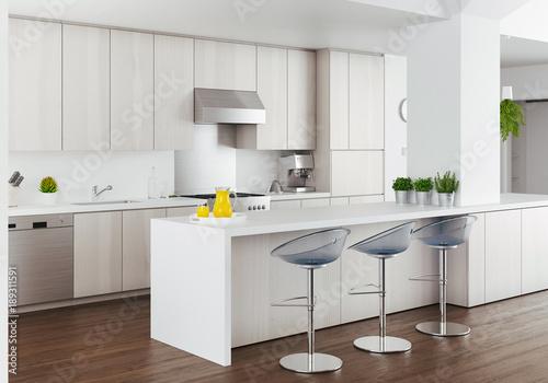Cucina bianca di design moderno, render alta definizione\
