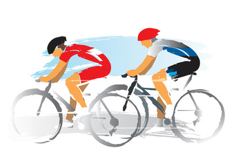 Road cyclists racers.