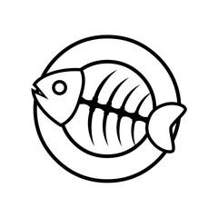 Logotipo trazo espina de pescado en plato negro en fondo blanco