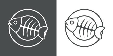 Logotipo trazo espina de pescado en plato gris y blanco