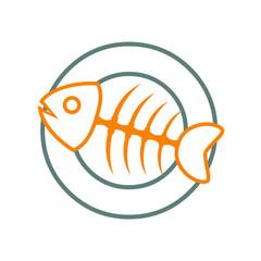 Logotipo trazo espina de pescado naranja en plato gris en fondo blanco