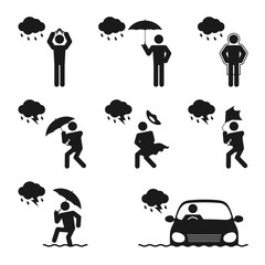 Weather Season Rainy man icons set illustration pictogram design black and white color isolated on white background, vector eps10