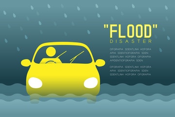 Flood Disaster of man icons pictogram with car design infographic illustration isolated on dark gradient background, with Flood Disaster text and copy space