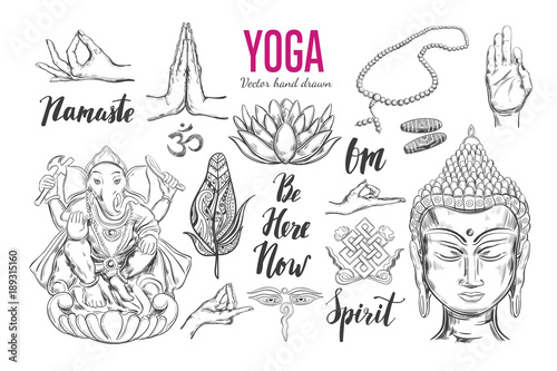 Yoga Set Vector Isolated Hand Drawn Objects Spiritual Symbols Of