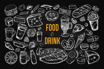 Food and Drink vector big set on Chalkboard. Isolated objects in sketch style.